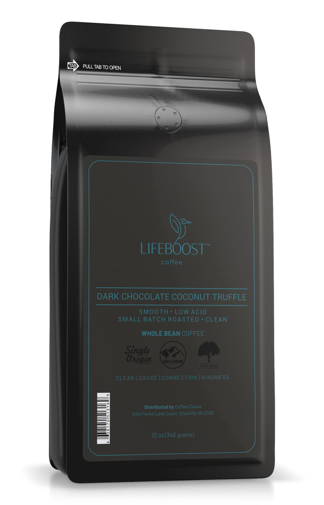 1x Dark Chocolate Coconut Truffle Medium Roast Coffee 12 oz Bag