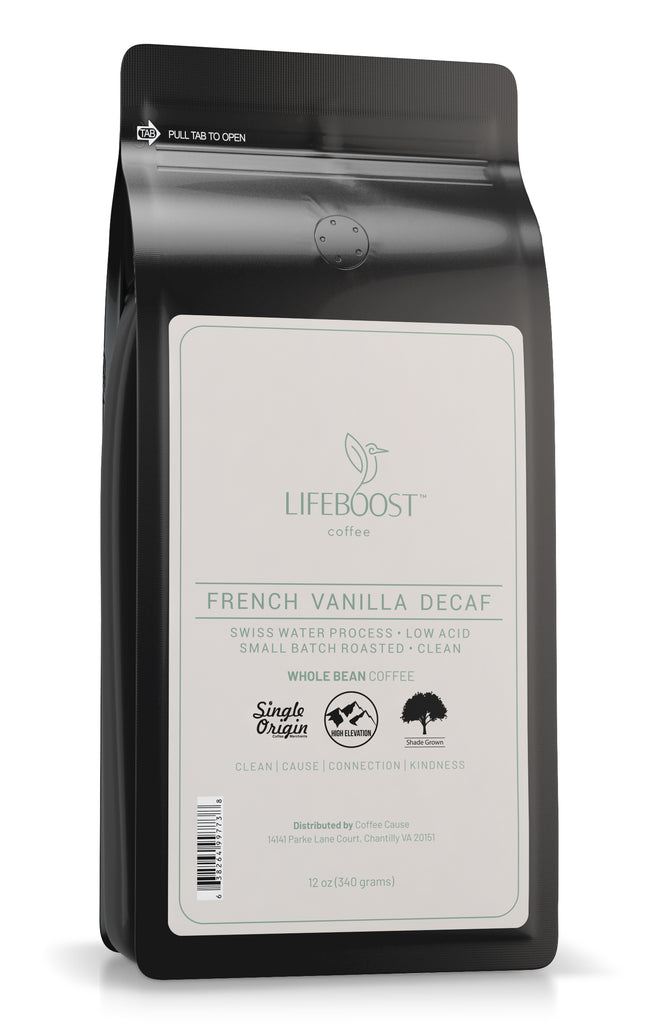 1x French Vanilla Medium Decaf  Coffee 12 oz Bag