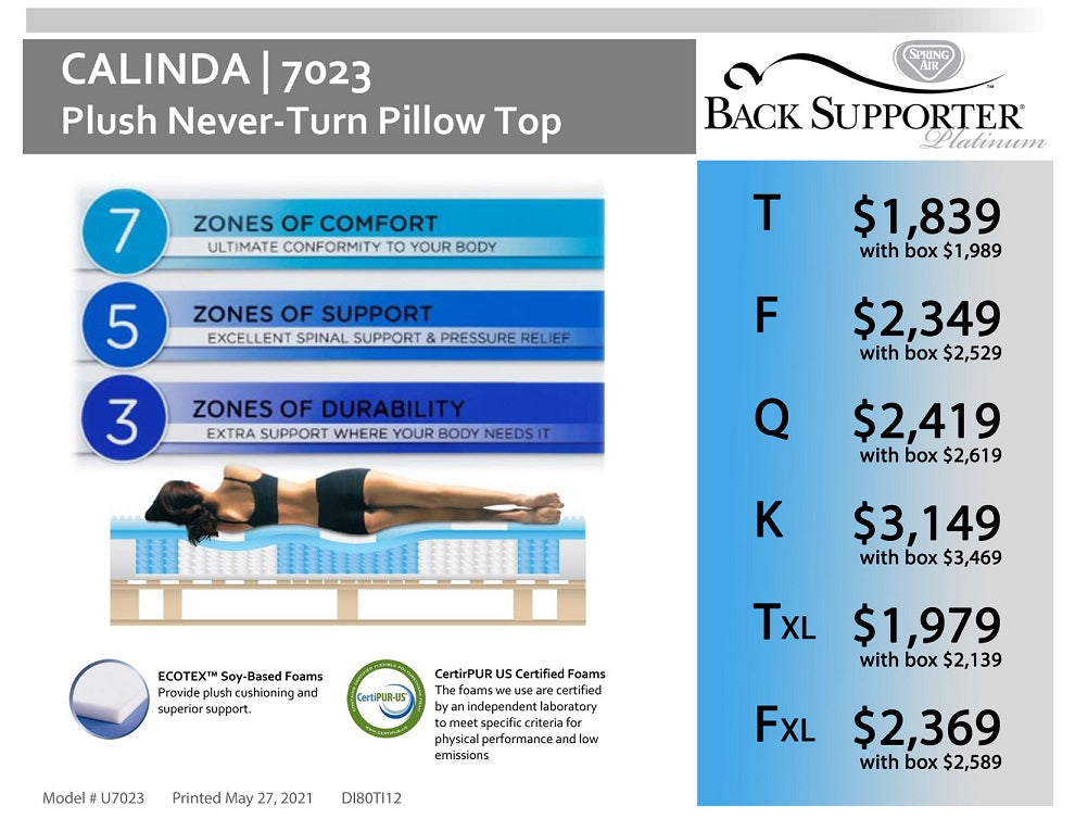 Calinda Plush Pillow Top Specifications