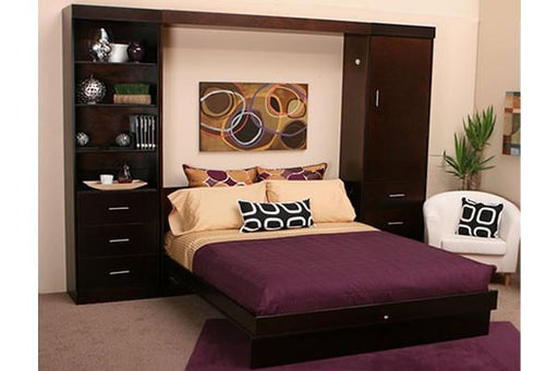 Euro Solid Hardwood Wall Bed Open Chocolate