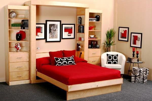 Euro Deluxe Solid Hardwood Wall Bed Open
