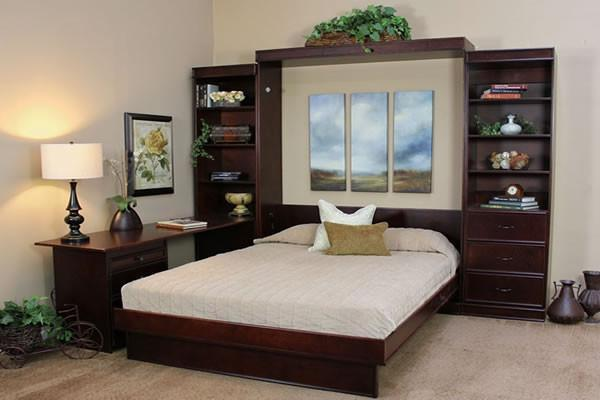 Portola Solid Hardwood Wall Bed Cinnamon Birch Open