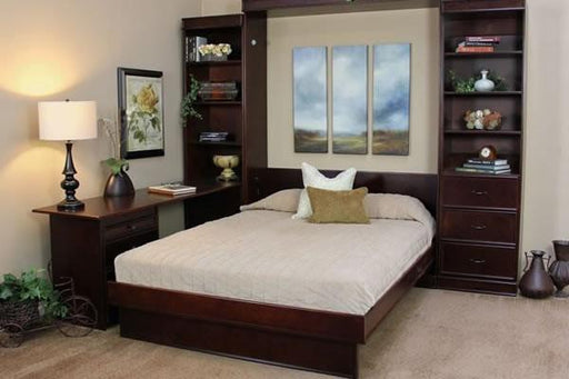 Portola Solid Hardwood Wall Bed with Desk Open