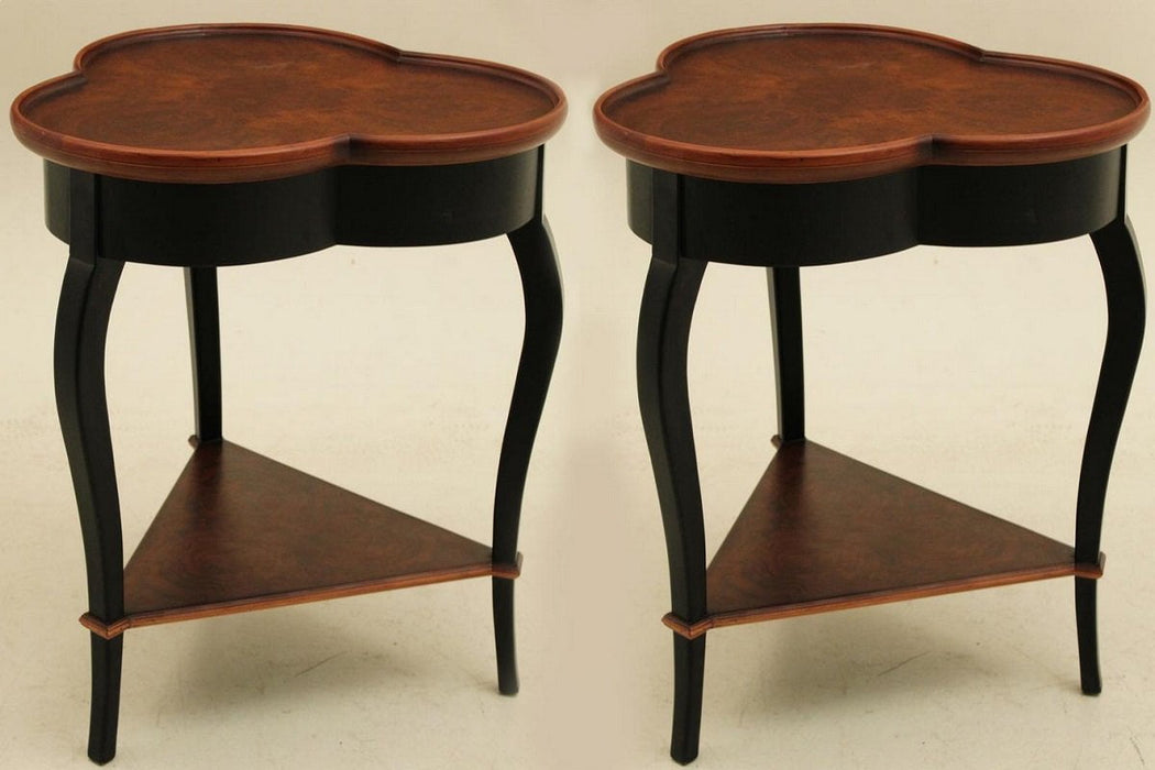 Best Sleep Centre Opportunity Buys Wayfair Returns Lot 728 - Pair Of Baker Style Ebony Base Burl Walnut Veneer Occasional Tables