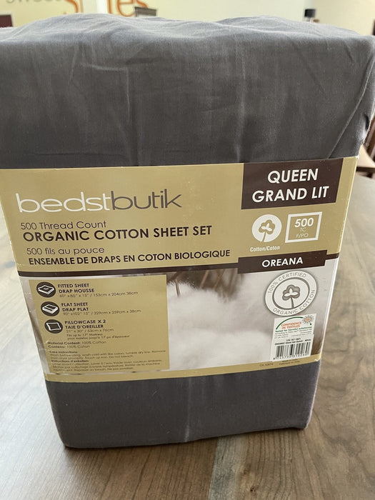 Best Sleep Centre Sheets Queen / Grey 500 Thread Count Luxury Organic Cotton Sheet Sets