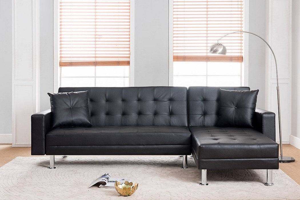 Milton Greens Stars Opportunity Buys Wayfair Returns Aria Klik Klak Faux Leather Reversible Sectional Sofa W/ Bed Black