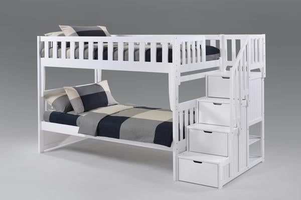Peppermint Twin over Twin Stair Bunk Bed