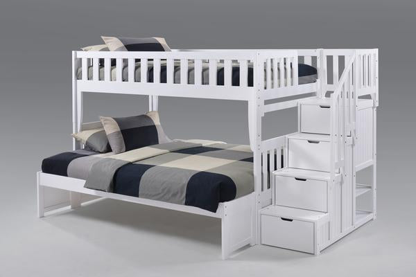 Peppermint Twin over Full Stair Bunk Bed
