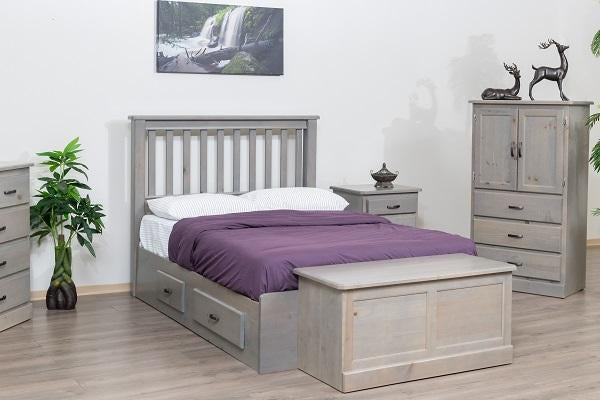 Pineridge Solid Wood Pine Bedroom Furniture Solid Wood Pine Bedroom Furniture 775 Shaker Mate's Bed With 4 Drawers And Headboard