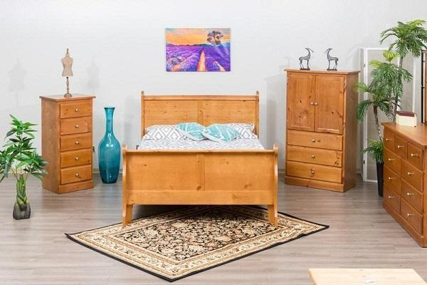 Solid Wood Pine Bedroom Furniture 775 Sleigh Pine Platform Bed