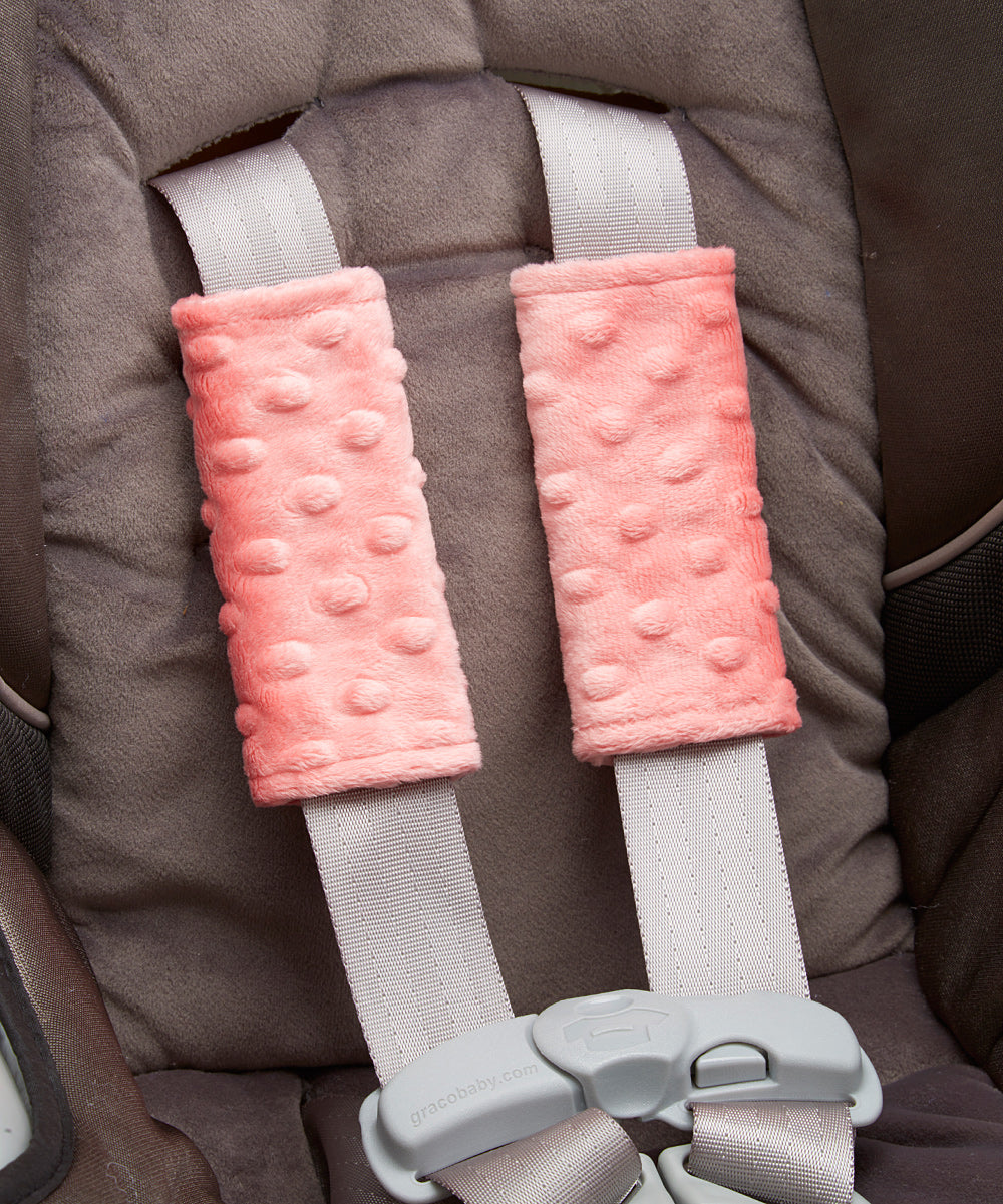 Coral Minky Car Seat Strap Cover Set