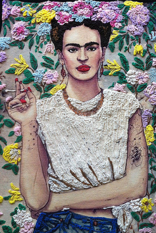 Frida Kahlo with cigarette Tshirt flowers background