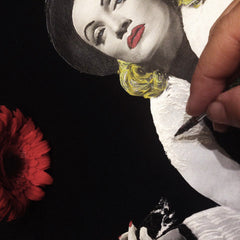 Painting Marlene Dietrich on T-shirt