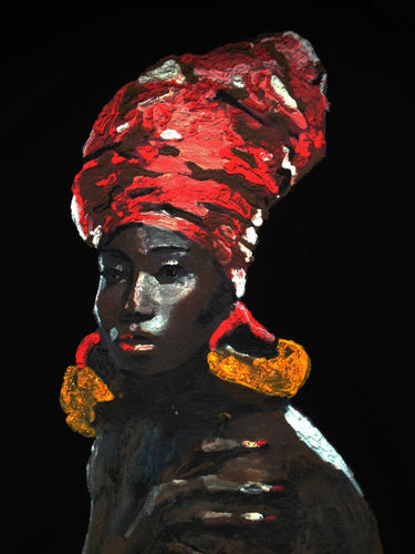 AFRICAN QUEEN Afro T-SHIRT Painted on relief - Quortshirts