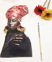 African Queen Red Hat Afro Painting 3d WALL ART - Quortshirts