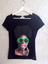 African American Girl  T-shirt PAINTED 3D  Black Queen - Quortshirts