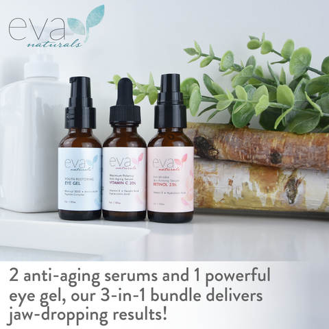 Image of Facelift Serum In A Bottle Set: Retinol, Vitamin C, & Eye Gel