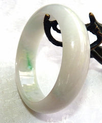 """Hidden Secret"" Burmese Jadeite ""Old Mine"" Bangle Bracelet 53mm (BB-2929)"
