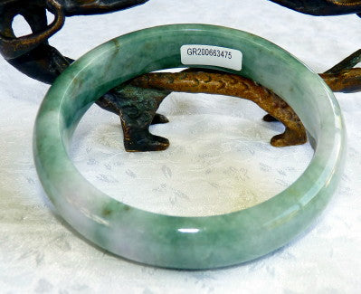 """Glowing"" Green with Lavender Hues Burmese Jadeite Bangle Bracelet 66.5 mm Grade A + Certificate (G3475)"