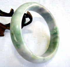 """Endlessly Interesting"" Green Grey Lavender Veins Burmese Jadeite Bangle Bracelet  66.5 mm + Certificate (G3477)"