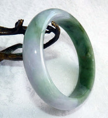 """Heaven and Earth"" Burmese Jadeite Grade A Bangle Bracelet 61 mm + Certificate (4995)"