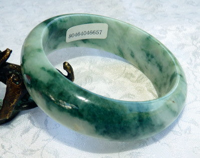 "Ying Yu's Jewelry Box ""Good Green Veins"" Grade A Burmese Jadeite Bangle Bracelet 50mm + Certificate (657)"