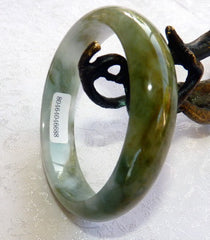 "Earth and Clouds"" Burmese Jadeite Genuine Natural Bangle Bracelet 55 mm (688)  - Certificate"