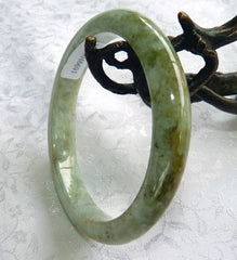 """Endlessly Interesting Earth"" Burmese Jadeite Grade A Slender Bangle Bracelet 55 mm + Certificate (691)"