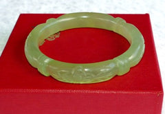 "Flowers and Bamboo ""Knot"" Carved Classic Round Chinese Jade Bangle Bracelet 53mm (NJCARV-23-53)"