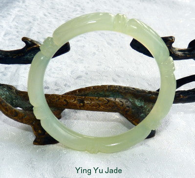 """Bamboo Knot"" Carved Translucent Chinese Jade Bangle Bracelet 53 mm (NJCARV-19-53)"