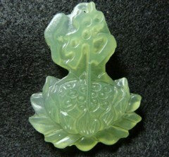 """Enlightened"" Buddha and Lotus  Chinese Jade Pendant (P128)"