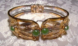 Vintage Jade Cabachon and Gold over Sterling Hinged Bracelet