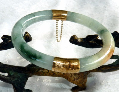 Classic Round Burmese Jadeite Bangle Bracelet with Hinge 57 mm (YYBOX26)