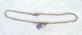 Vintage Pre Owned Sterling Silver Silver Heart Anklet with Lavender Jade Dangle Bead (TI-Anklet)
