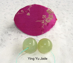 Women's Wellness Sale- Pair Green Jade Ben Wa Kegel Balls  Drilled with Hole + Free Gift Silk Fortune Cookie