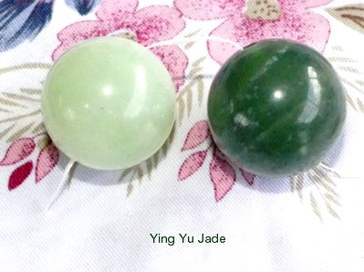 "Pair Jade ""Yin Yang"" Ben Wa Kegel Yoni Balls Drilled with Hole"
