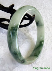 Auspicious Fu Lu Shou Three Color Jadeite Jade Bangle Bracelet 60.5mm (BB1019)