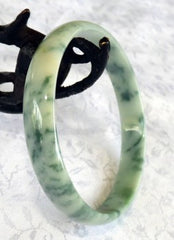 """Chinese Writing"" Calligraphy Veins Jadeite Bangle Bracelet 58.5mm (BB1172)"