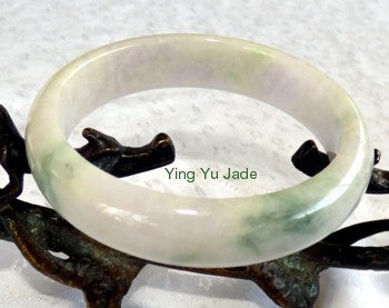 Precious Green Veins on White Old Mine Lao Pit Jadeite Bangle 60mm (BB2338)