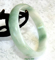 """Ying Yu's Jewelry Box""- Gorgeous Green Vein on White Burmese Jadeite Grade A Jade Bangle Bracelet 55.5mm (BB2570)"