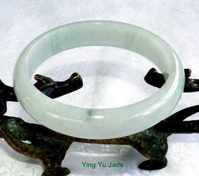 """Calm Your Spirit"" Soft Yin Green Burmese Jadeite Grade A Bangle Bracelet 58.5mm (BB2621)"