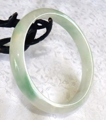 Large/Men's Green Veins on White Jadeite Bangle Bracelet 69mm (BB623)