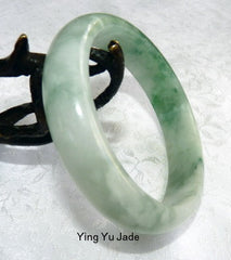 """Flowing"" Icy Green Veins Burmese Jadeite Old Mine Bangle Bracelet 57mm (BB2690)"