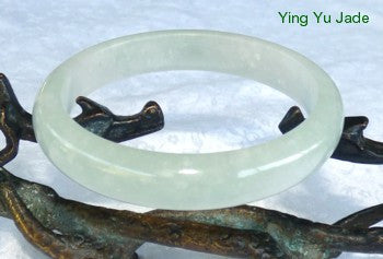 """Spiritual Bliss"" Translucent White Soft Green Hues Jadeite Bangle 57mm (BB2726)"