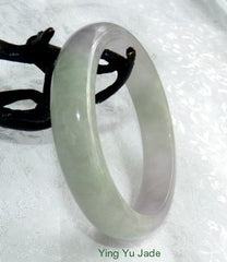 """Spiritual"" Translucent Soft Lavender and Green Old Mine Jadeite Bangle Bracelet 57.5mm (BB2739)"