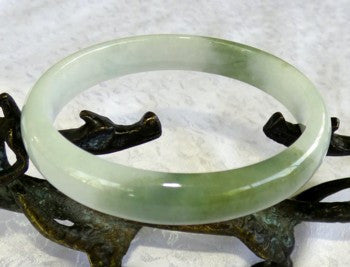 Yin Yang Dao Balancing Green and White Old Mine Lao Pit Jadeite Bangle Bracelet 64mm (BB2790)