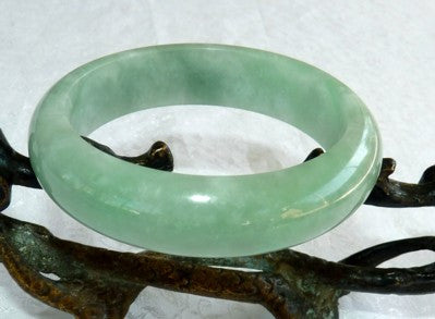 """Glowing"" Good Green Jadeite Jade Bangle Bracelet 56mm (BB2810)"