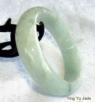 """Glowing Smoky Spiritual"" Grade A Translcuent  Old Mine Lao Pit Jadeite Bangle Bracelet 59mm (BB2822)"