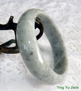 """Path of Wisdom"" Gray with Darker ""Butterfly Tracks"" Natural Jadeite Jade Bangle Bracelet 57mm (BB2823)"