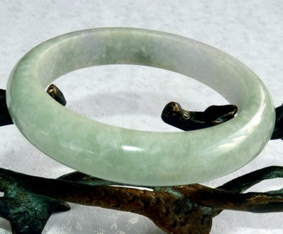 """Earthy"" Genuine Jadeite Burmese Jade Bangle Bracelet 56.5mm (BB2828)"